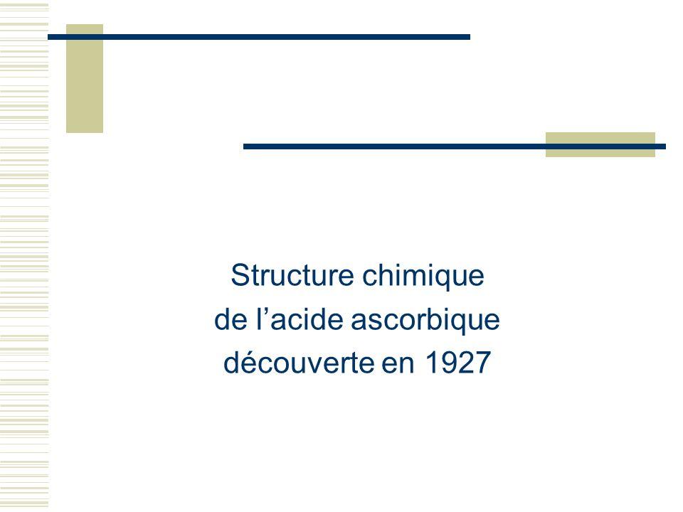Structure chimique de l'acide ascorbique découverte en 1927