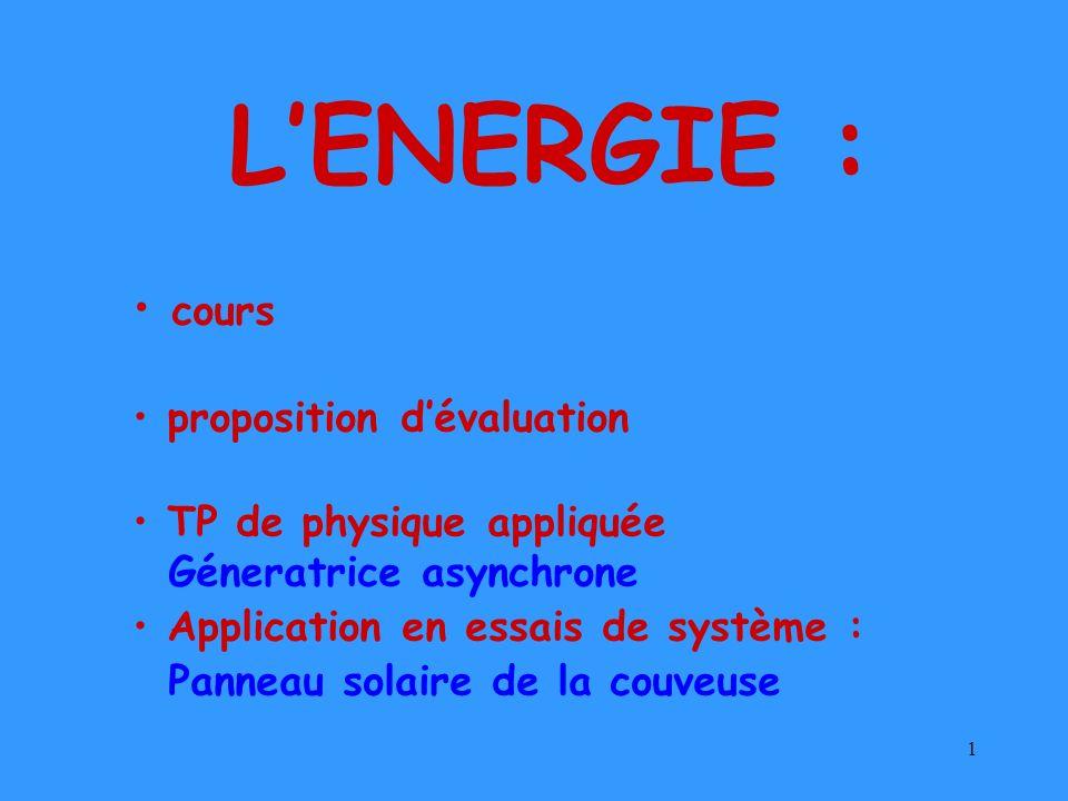 L'ENERGIE : cours proposition d'évaluation