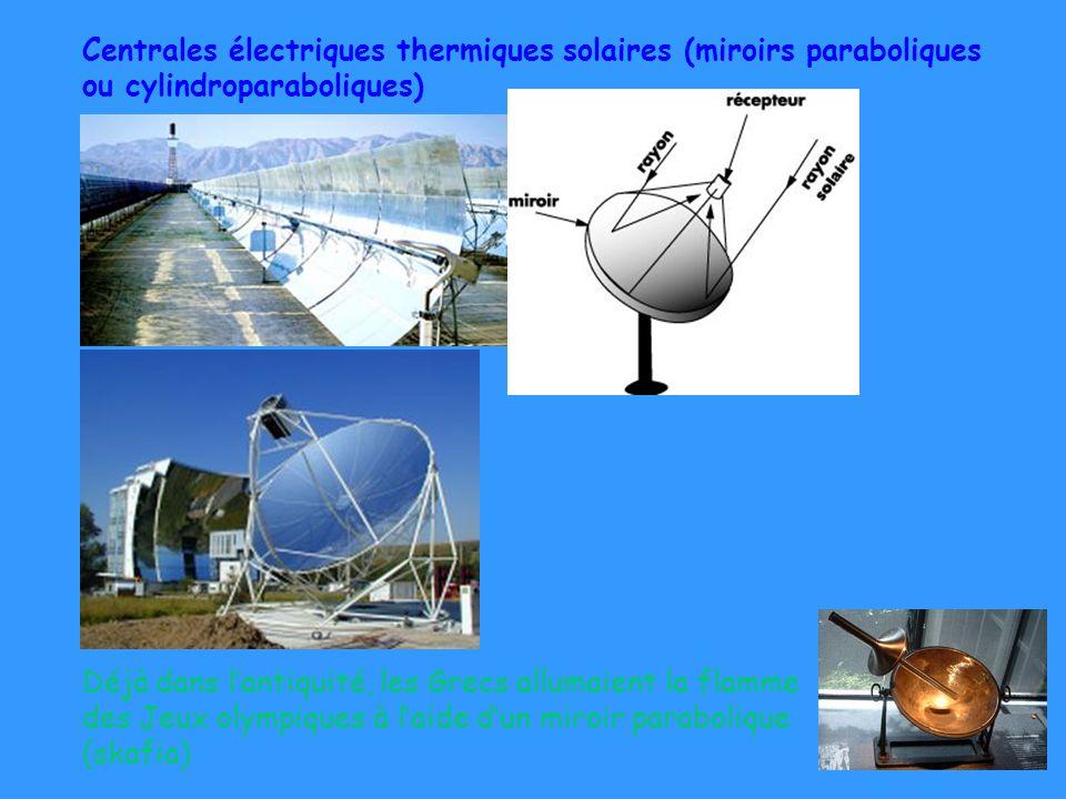 Centrales électriques thermiques solaires (miroirs paraboliques ou cylindroparaboliques)