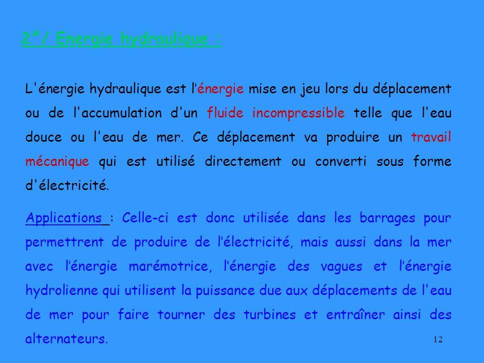 2°/ Energie hydraulique :
