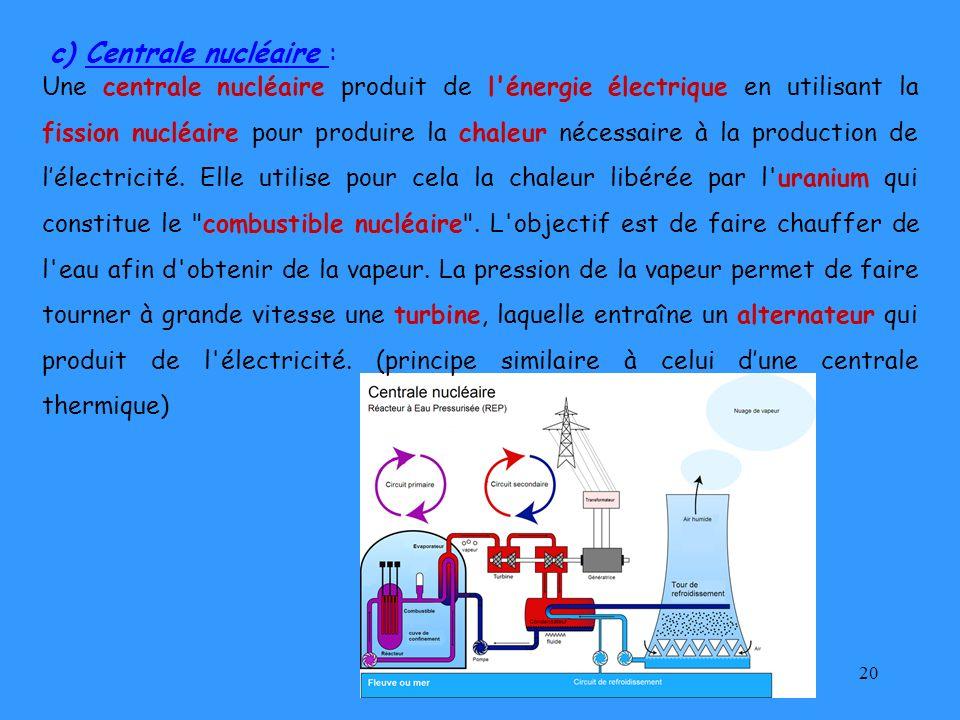c) Centrale nucléaire :