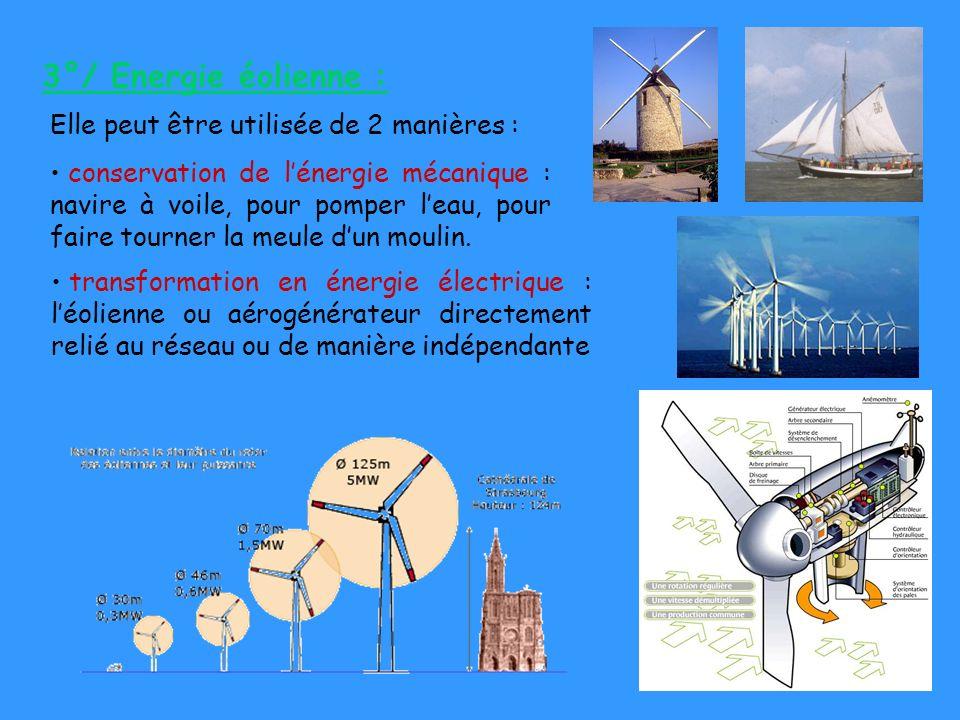 3°/ Energie éolienne : Elle peut être utilisée de 2 manières :