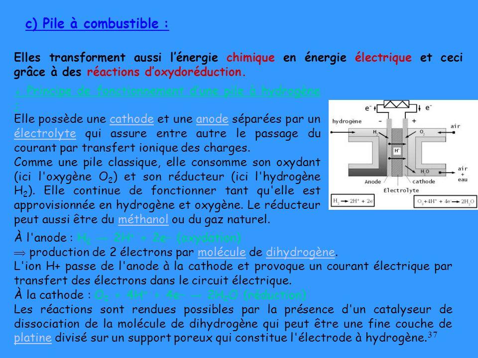 c) Pile à combustible : Elles transforment aussi l'énergie chimique en énergie électrique et ceci grâce à des réactions d'oxydoréduction.