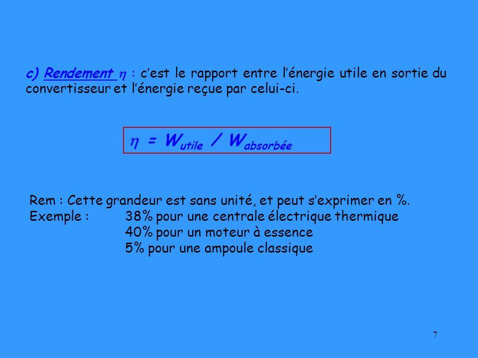 c) Rendement  : c'est le rapport entre l'énergie utile en sortie du convertisseur et l'énergie reçue par celui-ci.