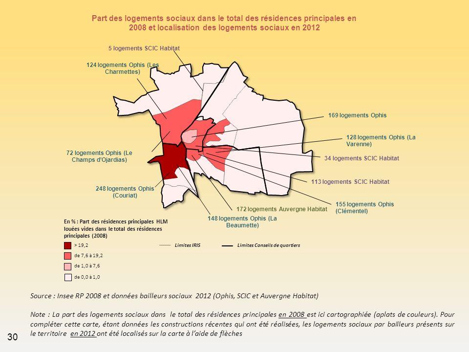 Part des logements sociaux dans le total des résidences principales en 2008 et localisation des logements sociaux en 2012