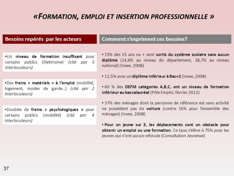 «Formation, emploi et insertion professionnelle »
