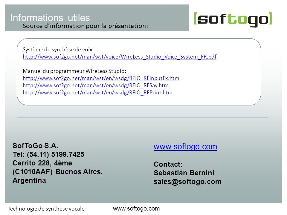 Informations utiles www.softogo.com