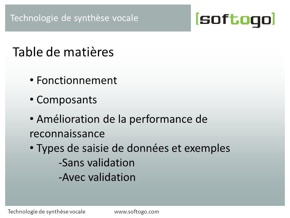 Table de matières Fonctionnement Composants
