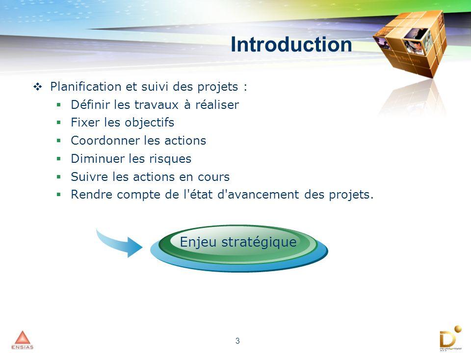 Introduction Enjeu stratégique Planification et suivi des projets :