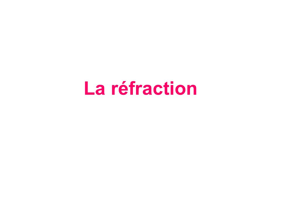 La réfraction