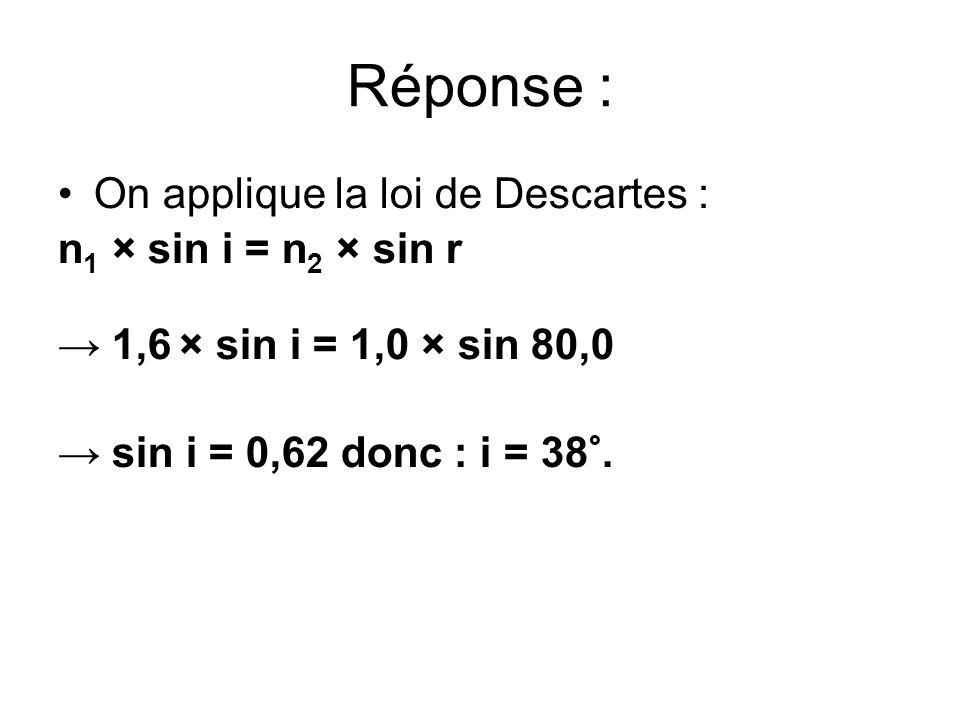 Réponse : On applique la loi de Descartes : n1 × sin i = n2 × sin r