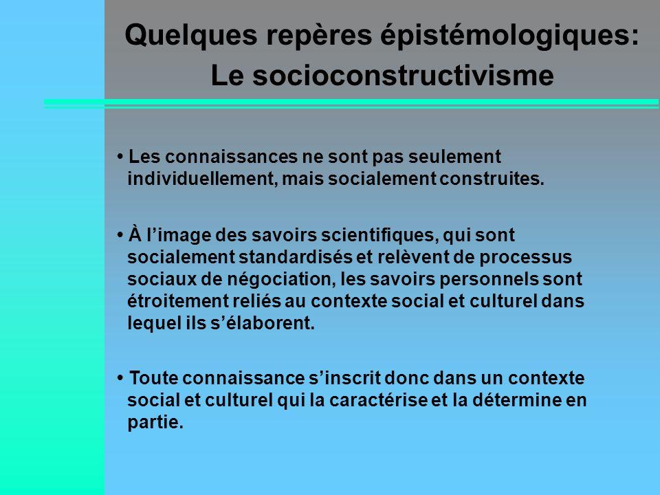Quelques repères épistémologiques: Le socioconstructivisme
