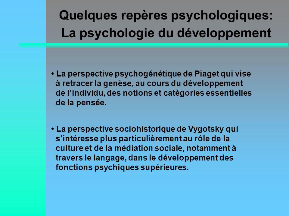 Quelques repères psychologiques: La psychologie du développement
