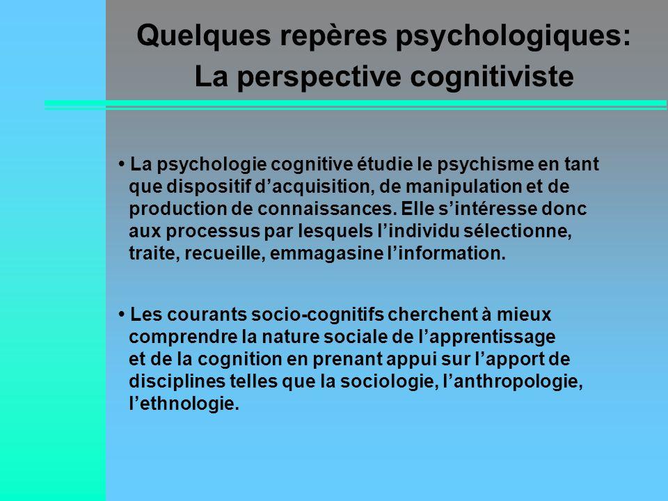 Quelques repères psychologiques: La perspective cognitiviste
