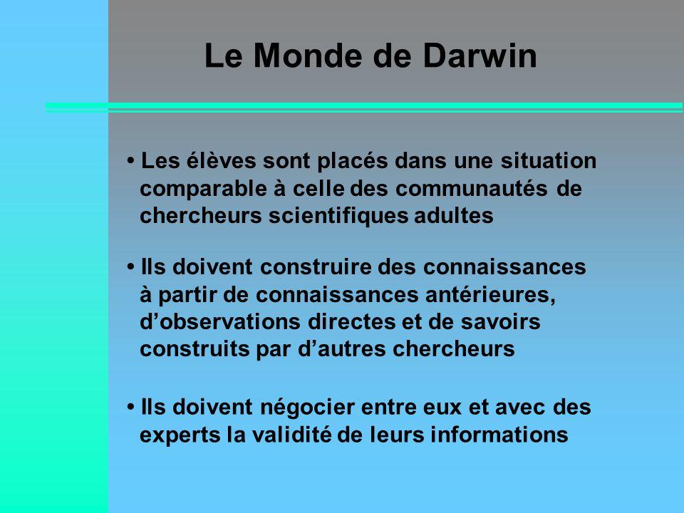 Le Monde de Darwin• Les élèves sont placés dans une situation comparable à celle des communautés de chercheurs scientifiques adultes.