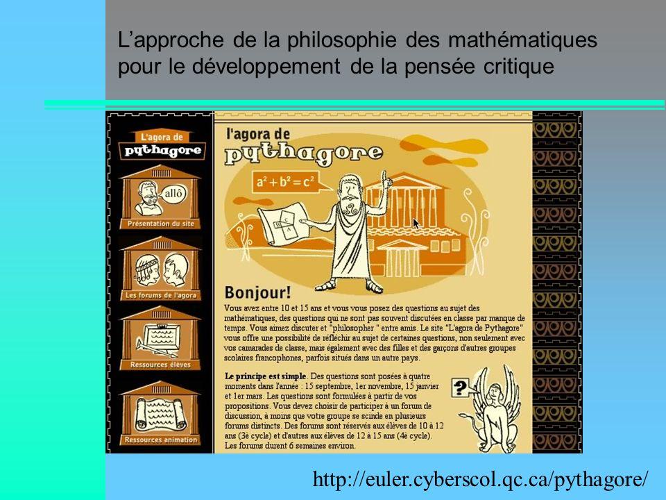 L'approche de la philosophie des mathématiques pour le développement de la pensée critique