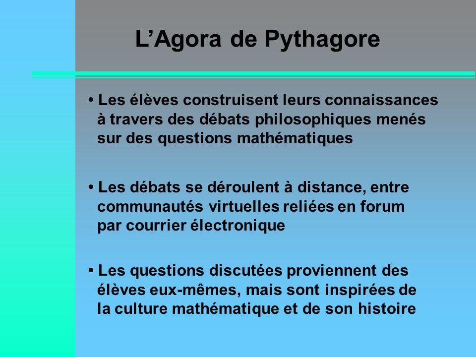 L'Agora de Pythagore• Les élèves construisent leurs connaissances à travers des débats philosophiques menés sur des questions mathématiques.