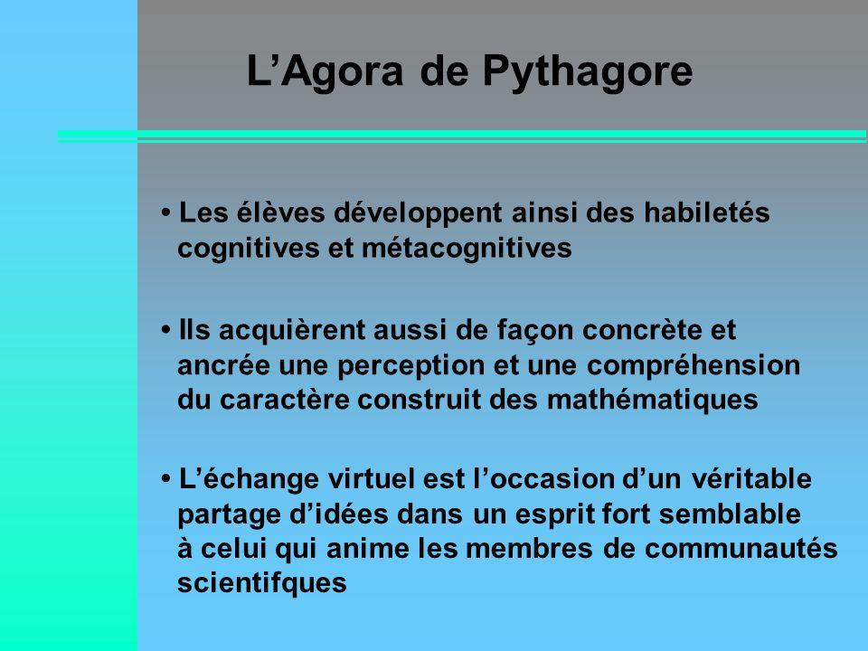 L'Agora de Pythagore• Les élèves développent ainsi des habiletés cognitives et métacognitives.