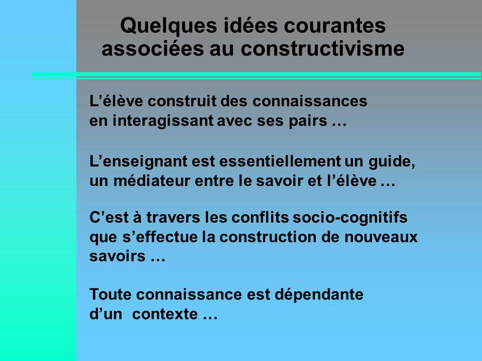 Quelques idées courantes associées au constructivisme