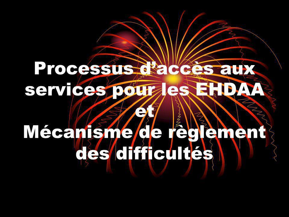 Processus d'accès aux services pour les EHDAA et Mécanisme de règlement des difficultés