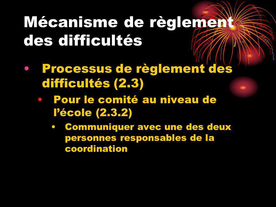 Mécanisme de règlement des difficultés