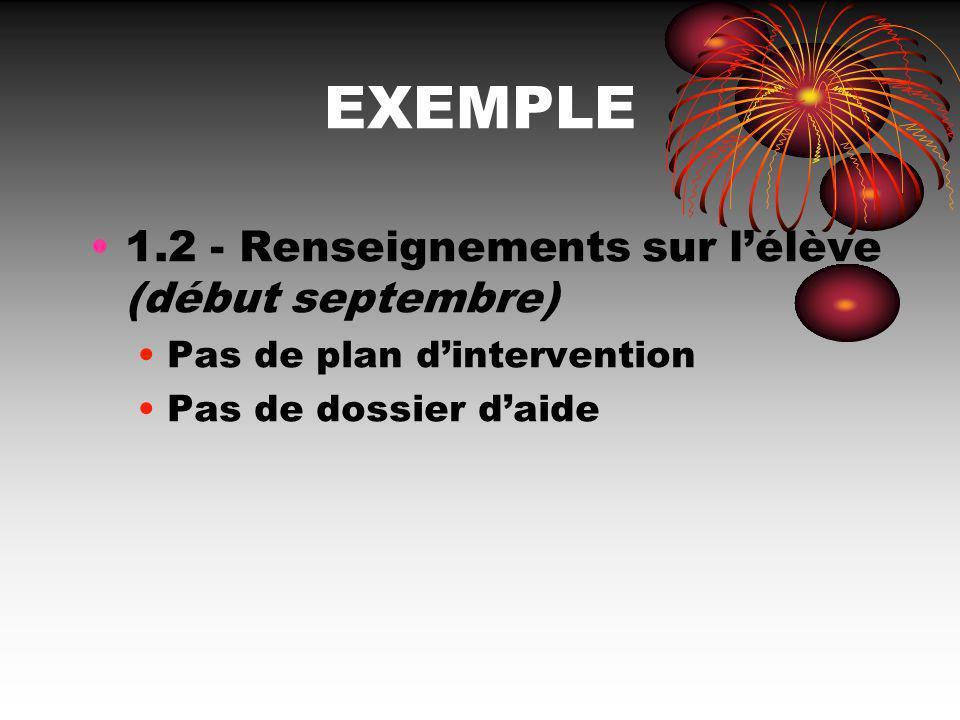 EXEMPLE 1.2 - Renseignements sur l'élève (début septembre)