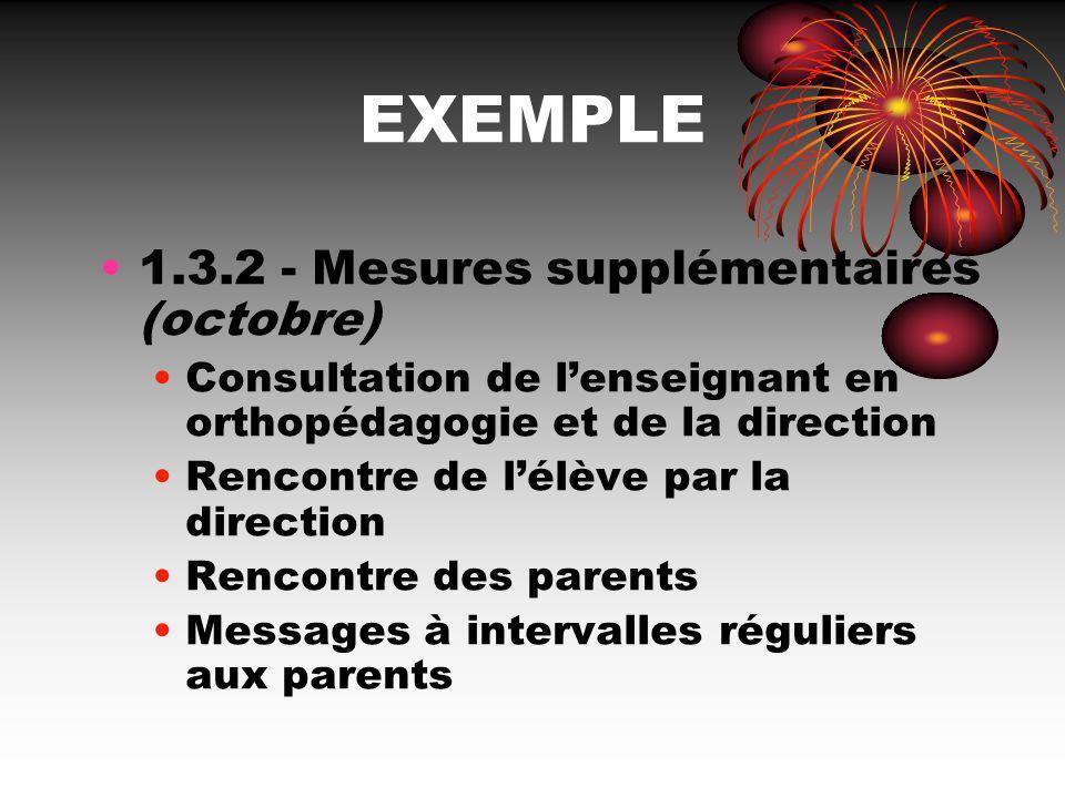 EXEMPLE 1.3.2 - Mesures supplémentaires (octobre)