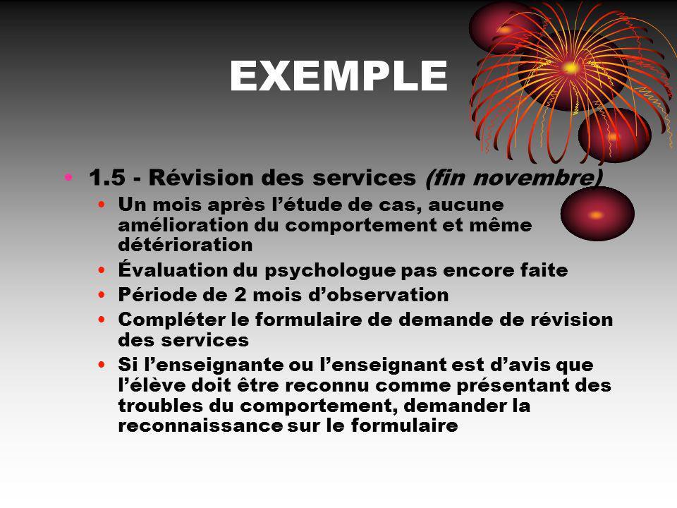 EXEMPLE 1.5 - Révision des services (fin novembre)
