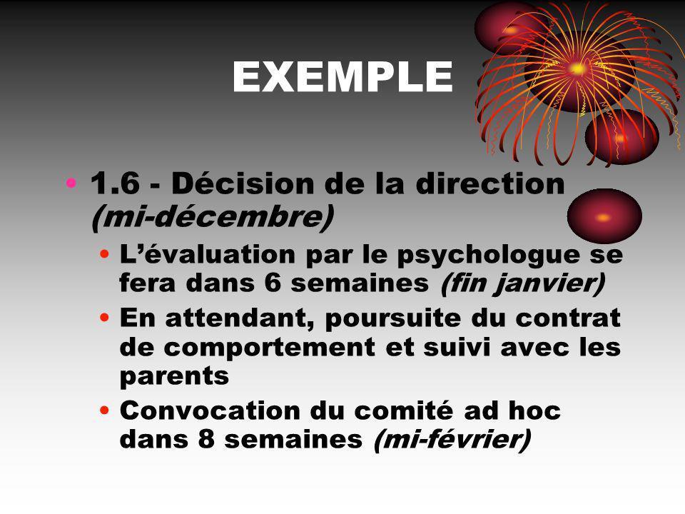 EXEMPLE 1.6 - Décision de la direction (mi-décembre)