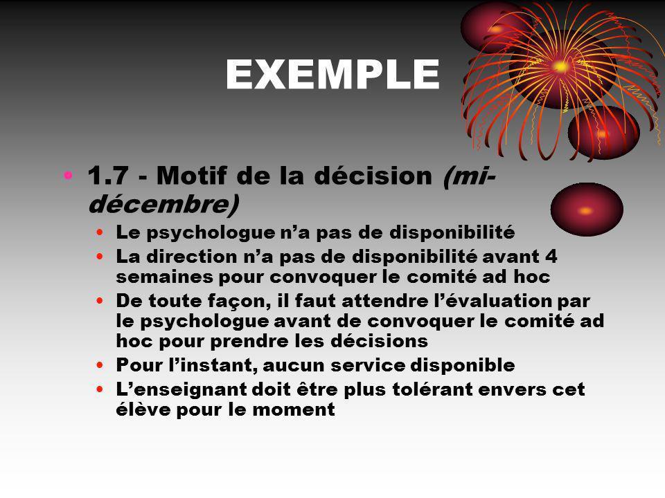 EXEMPLE 1.7 - Motif de la décision (mi-décembre)