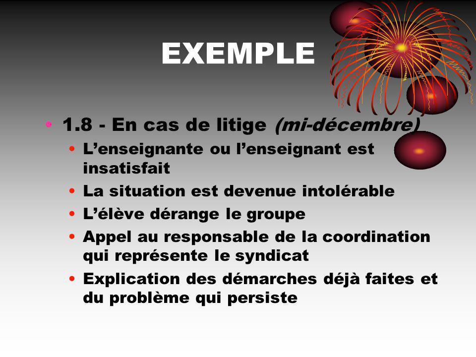 EXEMPLE 1.8 - En cas de litige (mi-décembre)