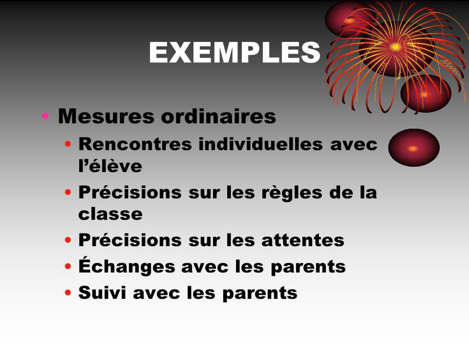 EXEMPLES Mesures ordinaires Rencontres individuelles avec l'élève