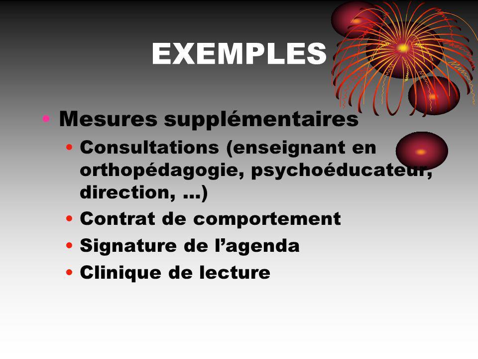 EXEMPLES Mesures supplémentaires