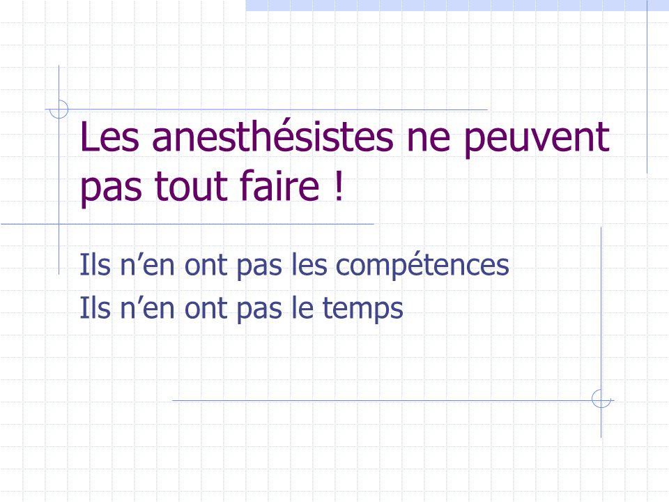 Les anesthésistes ne peuvent pas tout faire !