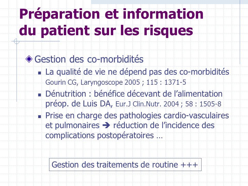 Préparation et information du patient sur les risques