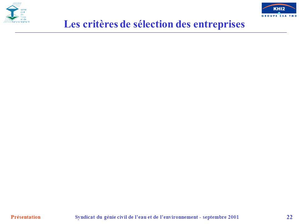 Les critères de sélection des entreprises