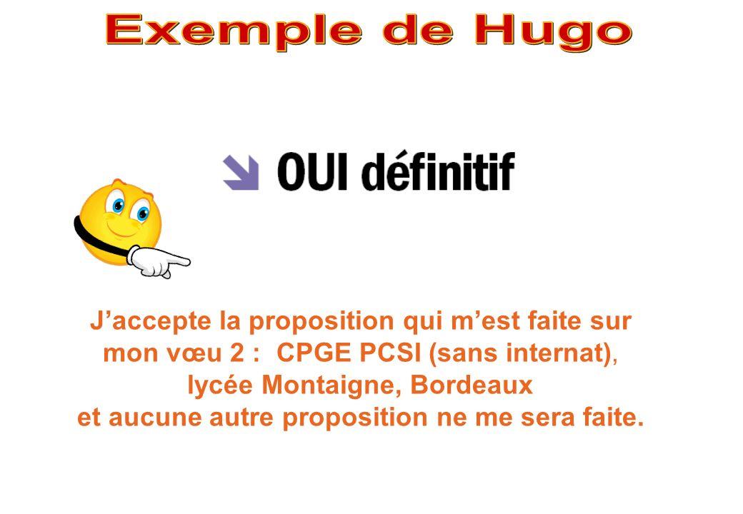 Exemple de Hugo J'accepte la proposition qui m'est faite sur