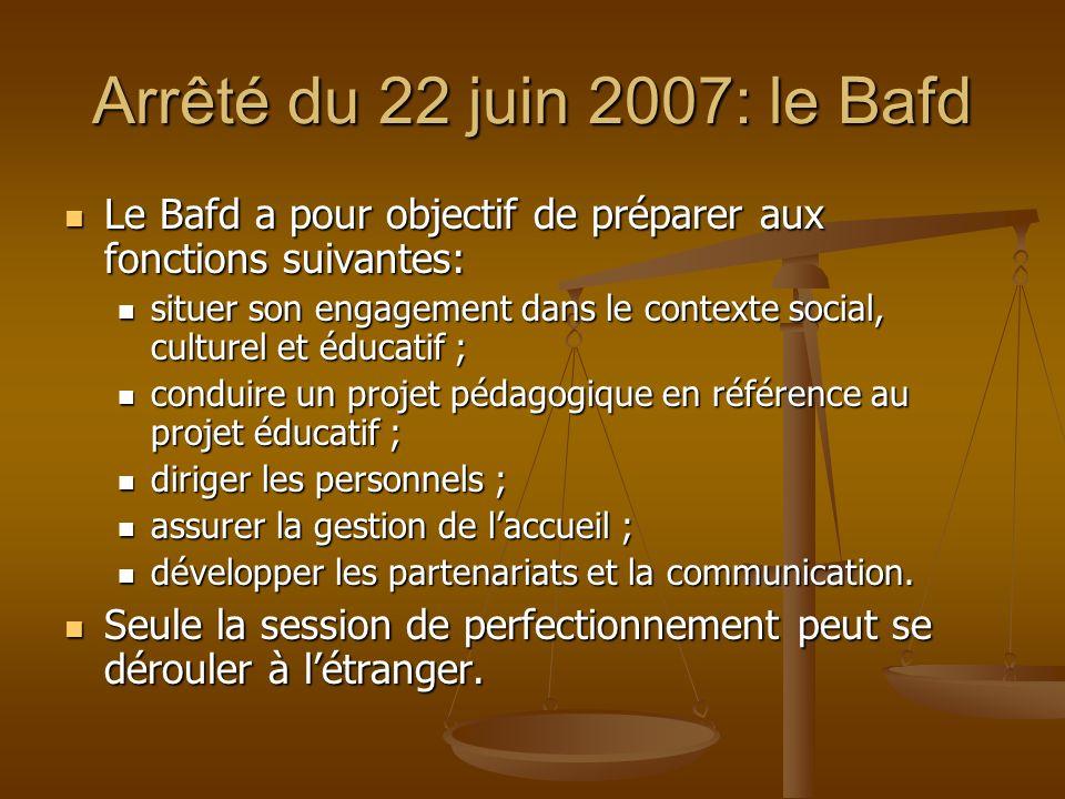 Arrêté du 22 juin 2007: le BafdLe Bafd a pour objectif de préparer aux fonctions suivantes: