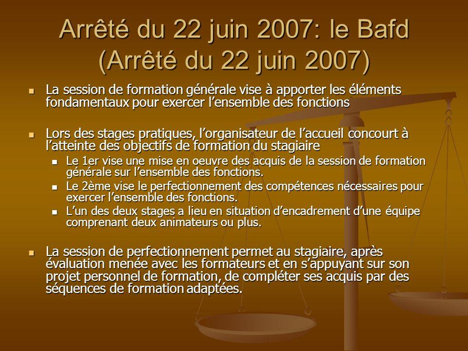Arrêté du 22 juin 2007: le Bafd (Arrêté du 22 juin 2007)