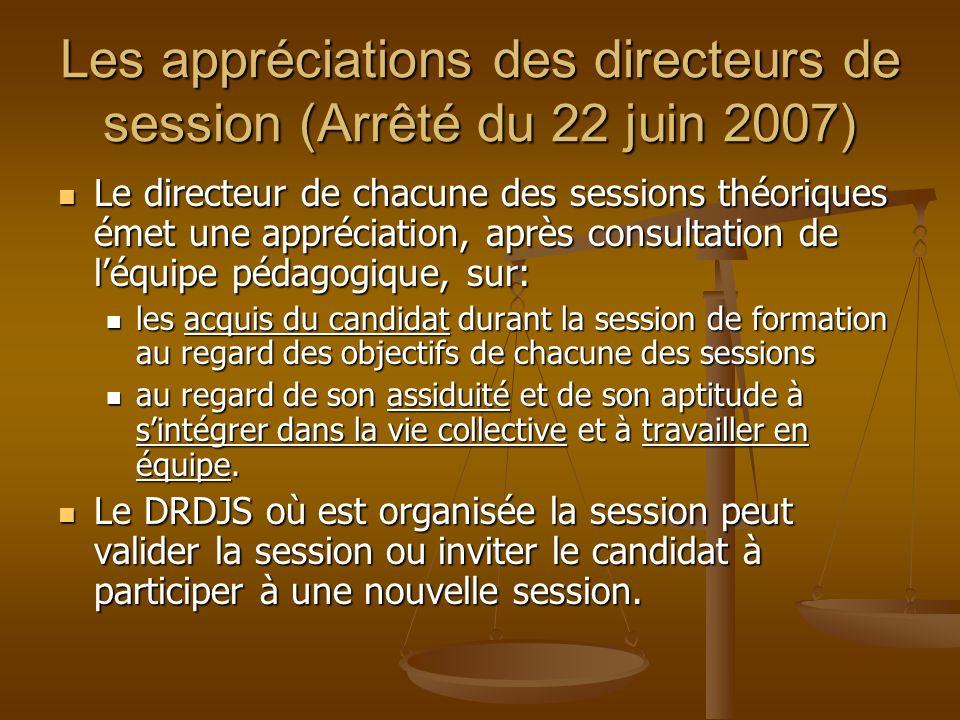 Les appréciations des directeurs de session (Arrêté du 22 juin 2007)