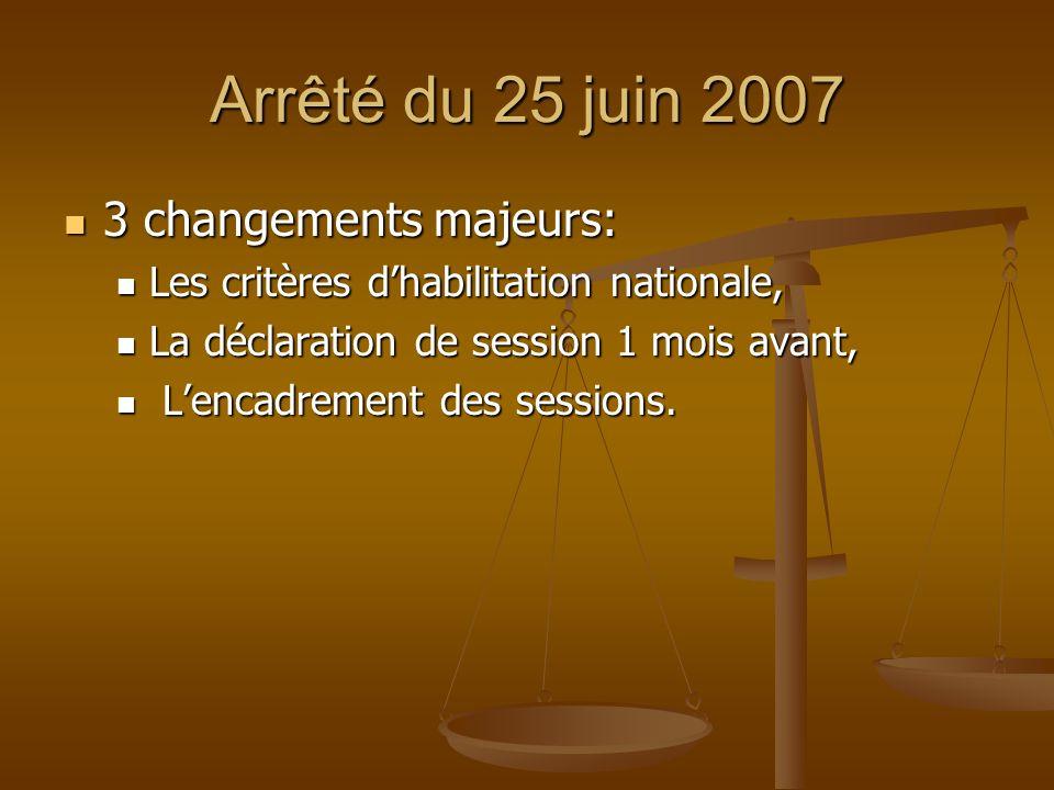 Arrêté du 25 juin 2007 3 changements majeurs: