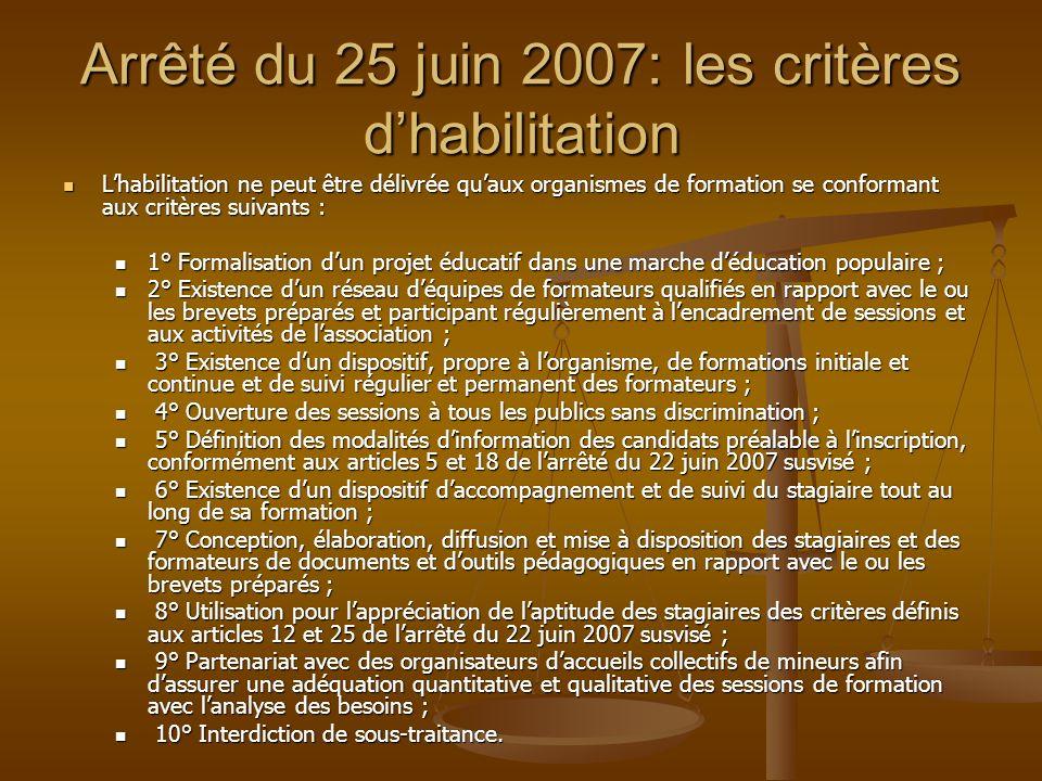 Arrêté du 25 juin 2007: les critères d'habilitation