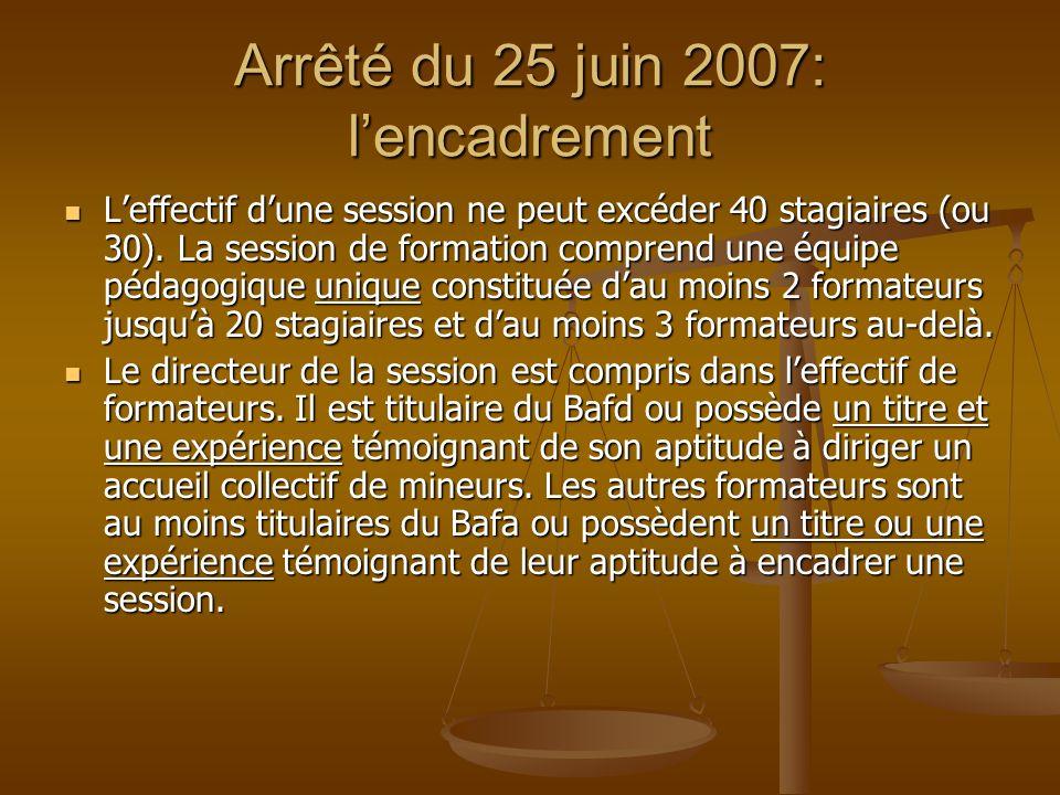 Arrêté du 25 juin 2007: l'encadrement