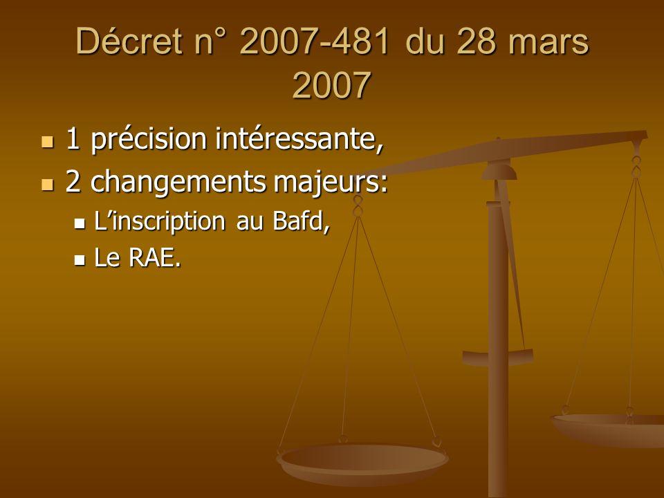 Décret n° 2007-481 du 28 mars 2007 1 précision intéressante,