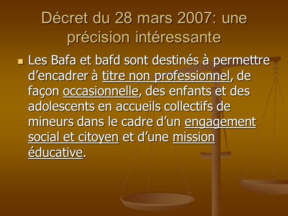 Décret du 28 mars 2007: une précision intéressante