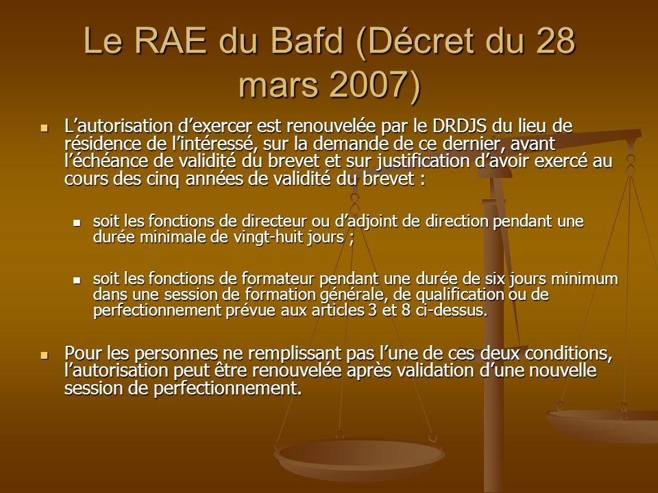 Le RAE du Bafd (Décret du 28 mars 2007)