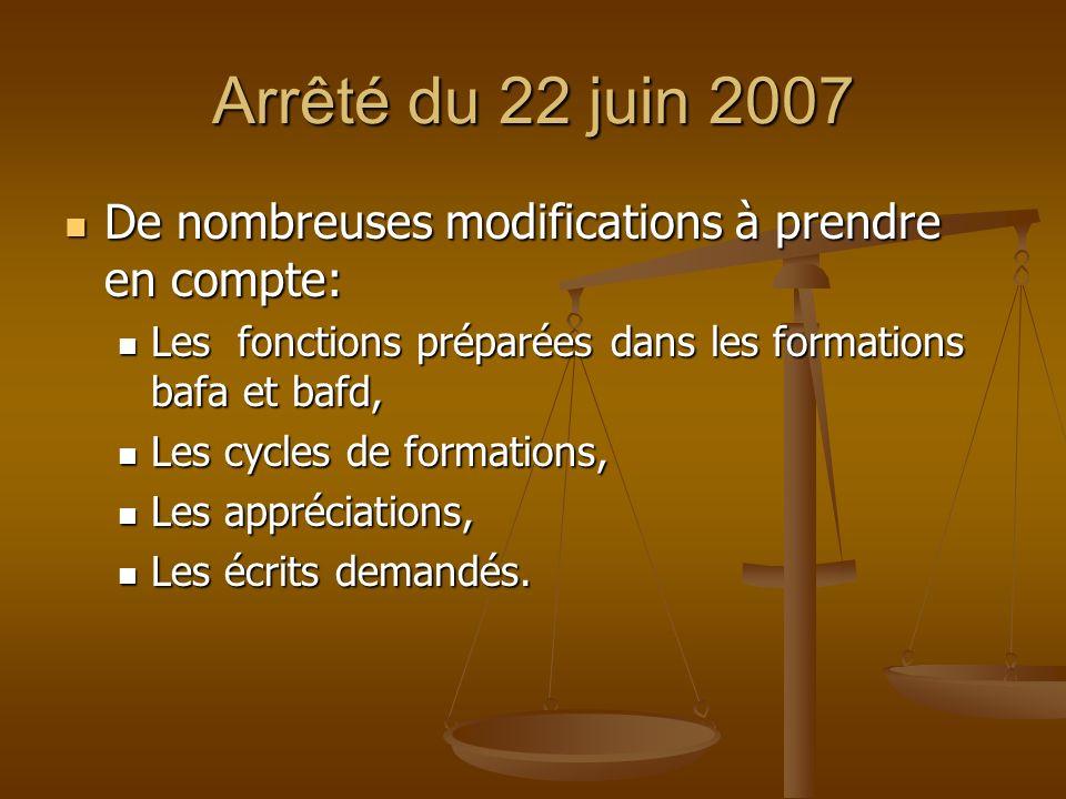 Arrêté du 22 juin 2007 De nombreuses modifications à prendre en compte: Les fonctions préparées dans les formations bafa et bafd,