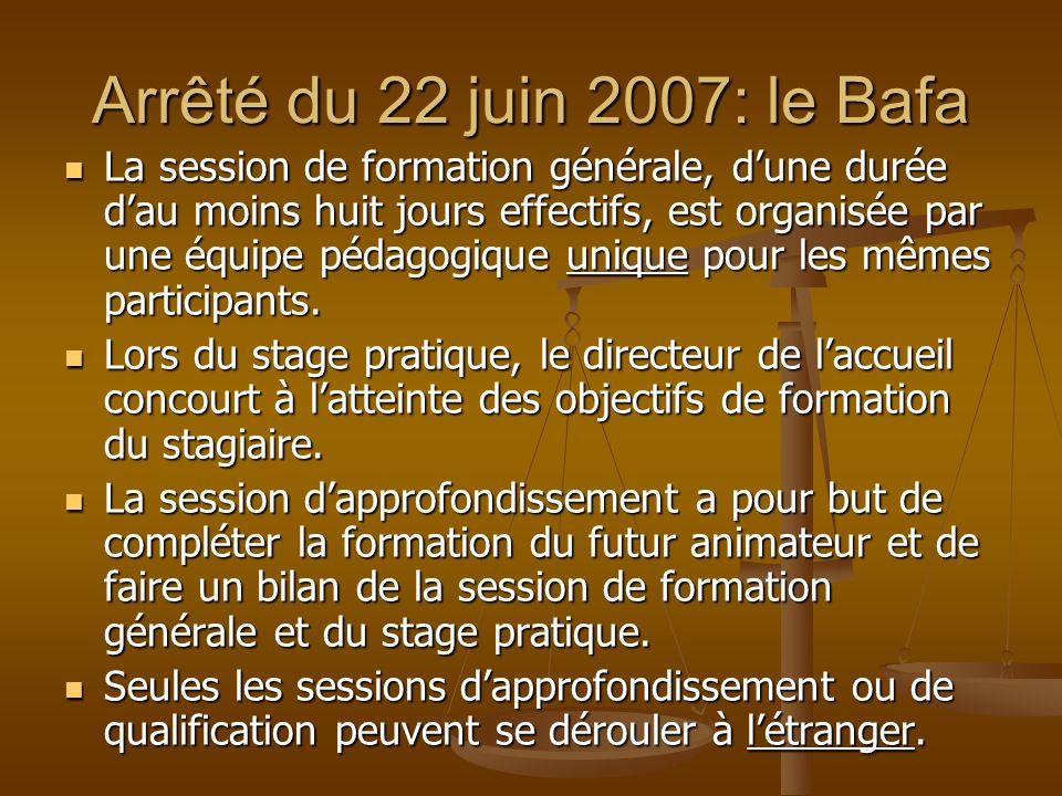 Arrêté du 22 juin 2007: le Bafa