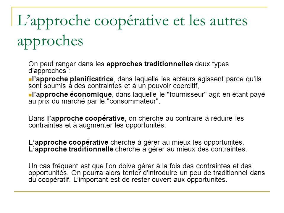 L'approche coopérative et les autres approches
