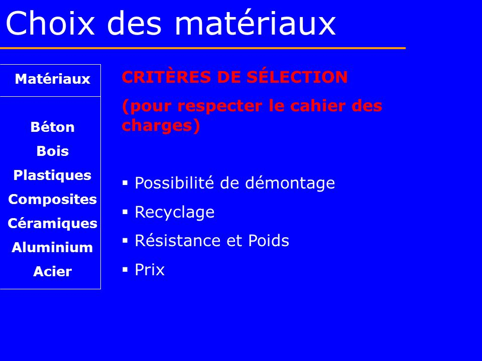 Choix des matériaux CRITÈRES DE SÉLECTION